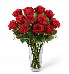 Funeral Flowers: Long Stem Red Rose Bouquet