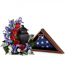 Funeral Flowers: Patriotic Tribute Arrangement