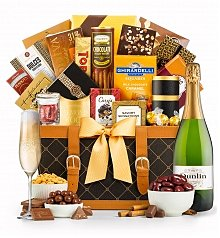 Wine Baskets: Golden Gourmet Grand with Your Choice of Wine